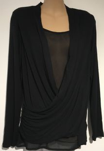 SERAPHINE BLACK SHEER INSERT LONG SLEEVED TOP SIZE S 10-12